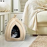 سرير مقبب ناعم للقطط والحيوانات الاليفة الصغيرة بتصميم بيت ايغلو مع وسادة يمكن ازالتها من بيت ميكر (لون بيج داكن)
