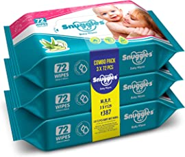 Snuggles Baby Wet Wipes with Aloe Vera and Vitamin E, 72 Pieces (Pack of 3)