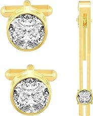 Amaal Men Cufflinks Set for Men in a Gift Box n Golden Cufflink,Tie pin Combo Set -CFL SET-110