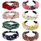 8 pezzi fascia elastica per capelli da donna, motivo a croce floreale retrò, fascia elastica annodata, bandana, accessori per