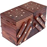 ITOS365 Handmade Wooden Jewellery Box for Women Jewel Organizer Brass Inlay(5 in 1) Gift Items