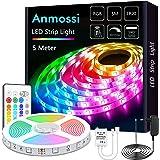 Anmossi LED Strip 5m,RGB LED Streifen mit Fernbedienung,AC220V-240V Dreamcolor LED Lichtleiste,SMD 5050 LED Lichtband,für die