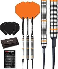 Red Dragon Amberjack Soft Tip Dartpfeile 18g – 90% Tungsten Darts Set (Steel Dartpfeile) mit Flights, Schäfte, Brieftasche Checkout Card