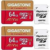 Gigastone Scheda di Memoria Micro SDXC da 64 GB 2 Pezzi, 4K Telecamera Pro Serie, A1 U3 V30, Velocità Fino a 95/35 MB/s. (R/W