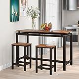 Ensemble de table de bar avec 2 tabourets de bar et de cuisine - Style industriel - Pour salle à manger, salon, cuisine - Mar