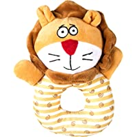 Goofy Tails Puppy Lion Squeaky Ring Dog Toys| Plush Toy for Dogs for Small & Medium Dog Breeds(Orange)