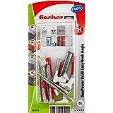 fischer EasyHook Angle 6, uppsättning av 6 mångsidiga vinkelkrokar och 6 matchande DuoPower 6 x 30 pluggar, för enkel och sna
