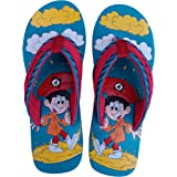 TIP TOP FASHION Flip Flop/Slippers for Kids UNISEX (Boys & Girls) Blue|Yellow Cartoon Printed with Umbrella & Clouds
