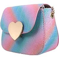VALICLUD Umhängetasche für Kleine Mädchen Glitzer Regenbogen Geldbörse Kleinkinder Handtasche Mini Herzförmigen…