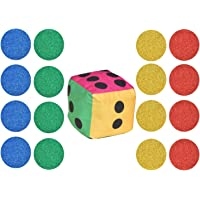 Fabture Soft Toy Velvet Fabric Fiber Filled Dice with 16 Tokens for Ludo bedsheet