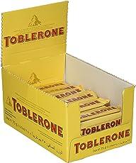 Toblerone Schokolade Riegel - Feine Schweizer Milchschokolade mit Honig- und Mandelnougat - Thekendisplay - 24 Riegel à 35g