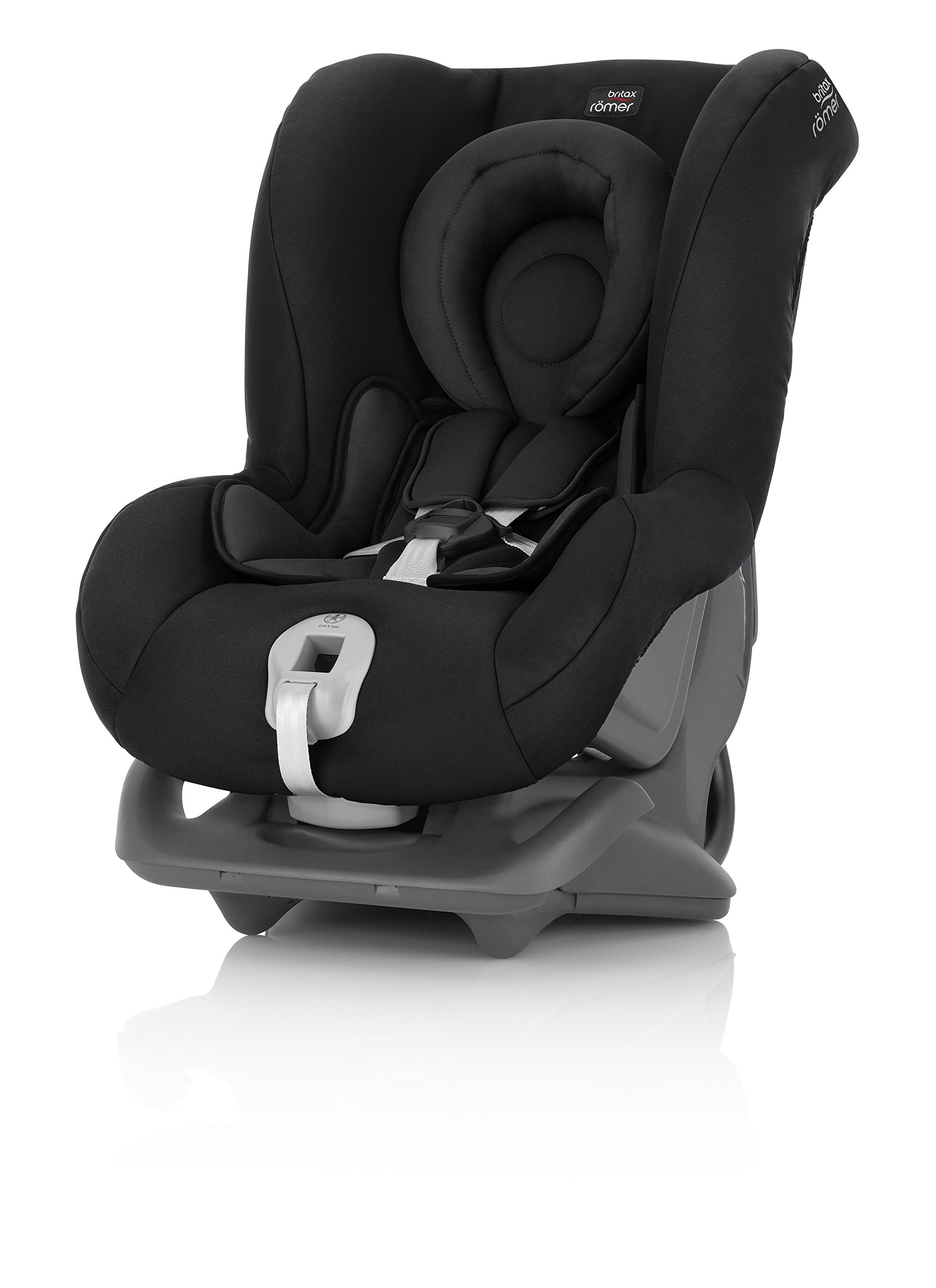 Britax Römer FIRST CLASS PLUS Group 0+/1 (Birth-18kg) Car Seat - Cosmos Black  Extended recline position when rearward facing - the safest way to travel Reassurance built-in - CLICK & SAFE harness tensioning confirmation Superior protection - side impact protection Plus performance chest pads and pitch control system 2