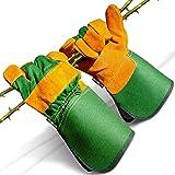 DIY Doctor Unisex Leather Gardening Gloves for Men or Garden Gloves for Women - Leather Work Gloves - Thick Gardening Gloves