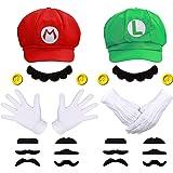 iZoeL Super Mario Luigi Hat Kit incl. Mario Luigi Hat + 4x white gloves + 14x mustache + 4x 5cm buttons for Party Character G
