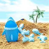 SuSenGo 9PCS Sand Toys Set Beach Toys with Sand Filter for Kids Outdoor Play, Includes Eco-Friendly Shark bucket, Shark, Spoo