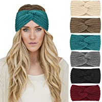 DRESHOW 6 Pieces Women Warm Knitted Headband Winter Ear Warmer Crochet Head Wraps Thick Cable Headband