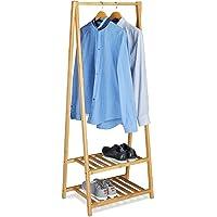 Relaxdays Bambou support de vêtements, 2 étagères, vêtement de rails, H x L x P : 150 x 60 x 40 cm, portable, garde-robe…
