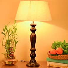 Homesake Eureka Polka Black Wood Table Lamp with Khadi Shade