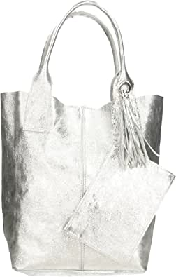 Chicca Borse Borsa a Mano Donna in Pelle Made in Italy 42x35x15 Cm