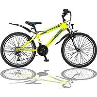 Talson 24 Zoll Mountainbike Fahrrad mit Gabelfederung & Beleuchtung 21-Gang Shimano FST Gelb