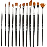 Amazon Brand - Solimo Paint Brushes, Set of 12