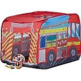 Relaxdays- Tente de Jeu Enfants Camion Pompiers Filles garçons 3 Ans Pop up intérieur extérieur, 10022459, Rouge