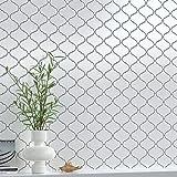 10-Sheet Peel and Stick Tile Backsplash, 12''x 12'' Arabesque Stick on Tiles, 3D Waterproof Self Adhesive White Wall Tile for