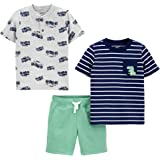 Simple Joys by Carter's Button-Up, Shorts, and tee Playwear Set Bebé-Niños, Pack de 3