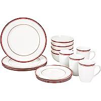 Amazon Basics Service de table 16 pièces pour 4 personnes Motif rayures Rouge