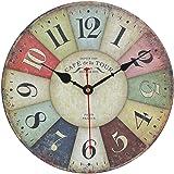 Reloj de pared vintage multicolor francés, reloj moderno hecho de madera estilo toscano para decoración del hogar