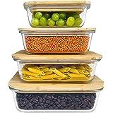 Greenable ® Fresh Storage Containers [Lot de 4] - Récipient en verre écologique avec couvercle en bambou durable - Sans BPA -