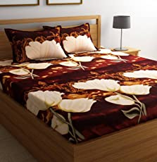 Ashu Decor Microfiber 3D Printed Double Bedsheet(1 Double bed sheet with 2 pillow covers, Multicolor