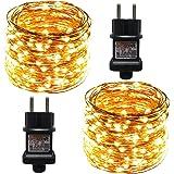 ACDE 2 Pièces Guirlande Lumineuses, 10M/100 LED Guirlande Guinguette avec EU Prise, Décoration Lumière pour Noël Jardin Fête