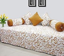AURAVE Contemporary Floral Cotton Diwan Set (6 pcs)