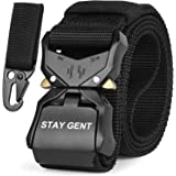 STAY GENT Cinturon Tactico para Hombres, Negro Liberación Rápida Cinturon de Estilo Militar con Hebilla, Heavy Duty Tejido de