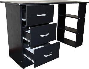 Redstone Schreibtisch   3 Schubladen + 3 Regale   Schwarz Weiß Buche  Nussbaum   Arbeitstisch Computertisch
