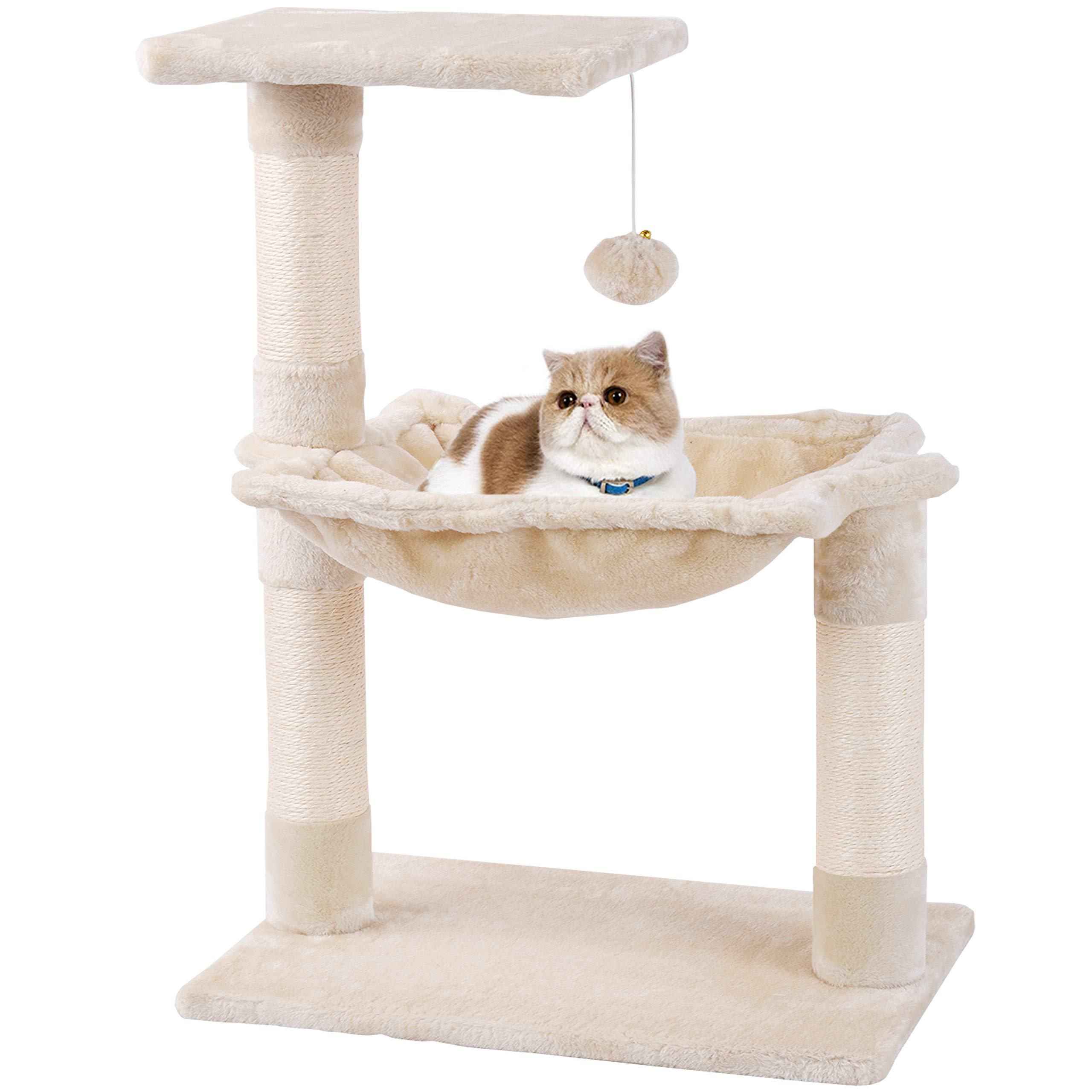 MC Star Árbol para Gato pequeño con Grandes Hamaca Rascador Cama Bolas de Juego Arañazo Plataforma Sisal Natural 70cm, Beige