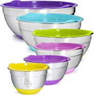 Premium Stainless Steel 6-Piece Mixing Bowl Set by KatieKay-Extra Thick .5mm Steel-1-1.5-2-3-4-6 Qt-Stackable Non-Slip Silic