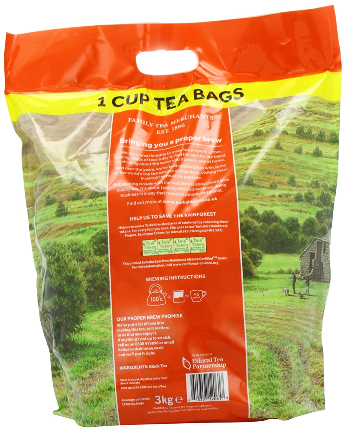 Yorkshire Tea Traditional 1200 One Cup Tea Bags 3 Kg: Amazon: Grocery