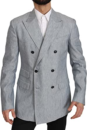 Dolce & Gabbana Blue Flax Napoli Jacket Coat Blazer