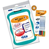 BIC Velleda Double-Sided Dry Erase Board (21 x 31 cm) with Whiteboard Marker and Eraser + 4 Free Whiteboar Markers - Assorted