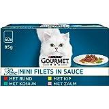 Gourmet Perle Mini Filets Kattenvoer, Natvoer, Maaltijdzakjes met Rund, Kip, Konijn, Zalm in Saus, 60 x 85g - (60 portiezakje