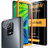 [5 PACK] UniqueMe voor Xiaomi Redmi Note 9s/Note 9 Pro [2 PACK] Screen Protector en [3 PACK] camera lens protector, [Maximale
