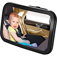 Detachable Backseat Baby Car Mirror – Clear Wide Angle View of Toddler Newborn, Infant or Children – Safe Accessory with Headrest Double Strap - 360 Degree Adjustable + Shatterproof Glass