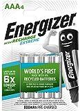 Energizer E300624400 NimH-Akku Rechargeable Extreme Micro (1,2Volt 800mAh, vorgeladen 4er-Packung)