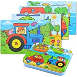 BBLIKE Puzzle Legno - 4 pezzi Giochi Legno Bambini con Confezione in Scatola di Ferro, Fattoria(D)