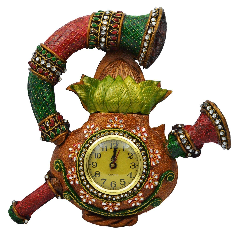 Wooden & Paper Mache Sahanai Kalash Wall Clock with Kundan Work