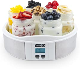 Dash Yogurt Maker Machine with Stainless Steel Base, Digital Display, Auto Timer + 7 Jars (8oz glass jars) with BPA Free Lids: Perfect for Homemade Baby Yogurt, Kids Yogurt, or Grab and Go Breakfast