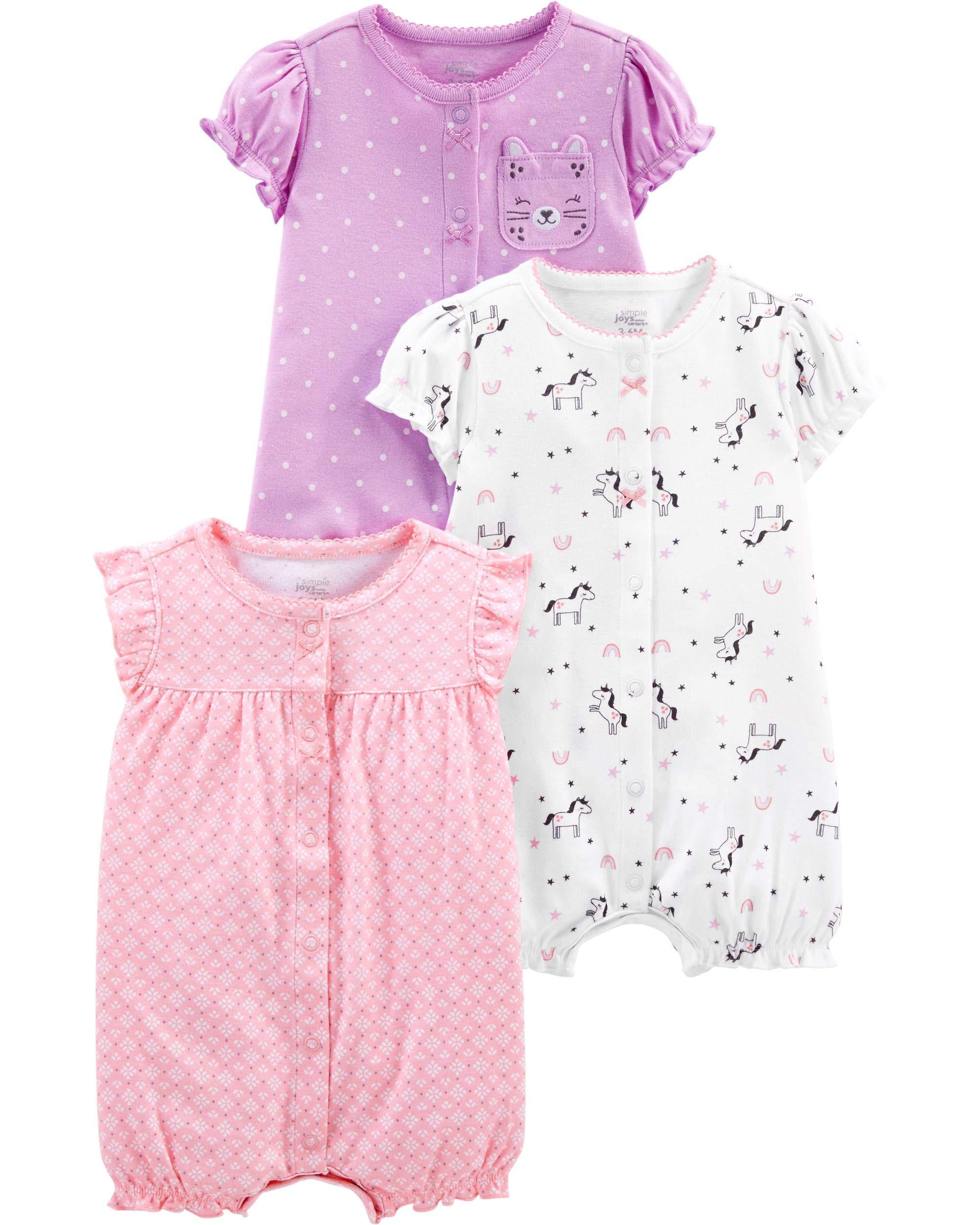 Simple Joys by Carter's Baby Girls paquete de 3 pelele de ajuste 1