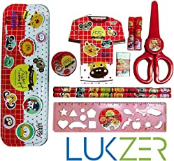Lukzer 10 in 1 Mix Stationery Set with 1 Pencil Box/2 Hats/1 Mini Cute Diary/2 Pencils/1 Eraser/1 Sharpener/1 Ruler/1 Student Scissor